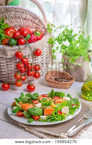 Ingredients For Salad With Salmon And Vegetables