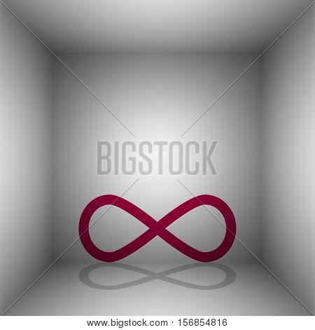 Limitless Symbol Illustration. Bordo Icon With Shadow In The Room.