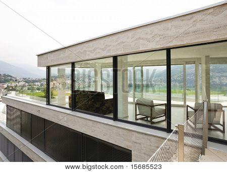 beautiful modern house, exterior windows