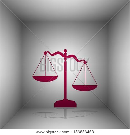 Scales Of Justice Sign. Bordo Icon With Shadow In The Room.