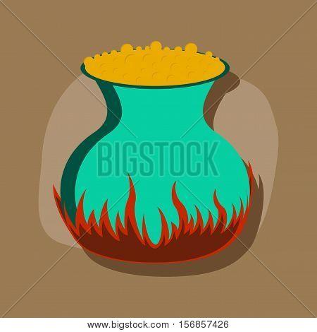 paper sticker on stylish background of potion cauldron