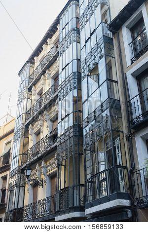 Toledo (Castilla-La Mancha Spain): old typical building in the historic city with verandas