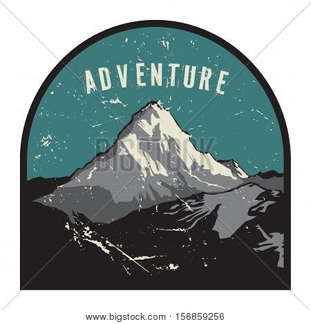 Mountains badge or emblem. Adventure outdoor expedition mountain badge climbing mountain snowy peak mountain label with text Adventure vector illustration