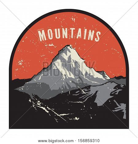 Mountains badge or emblem. Adventure outdoor expedition mountain badge climbing mountain snowy peak mountain label with text Mountains vector illustration