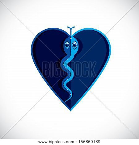 Poisonous Snake Graphic Vector Illustration, Modernistic Colorful Image Of Dangerous Reptile Isolate