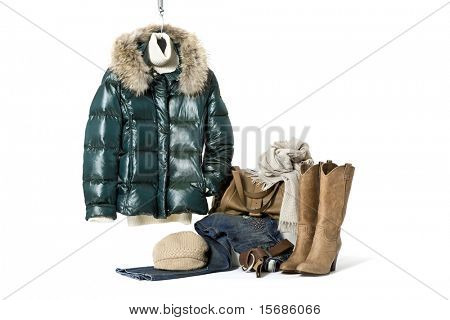 winter clothes on white background