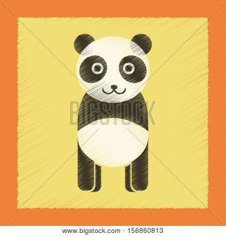 flat shading style icon of Panda bear