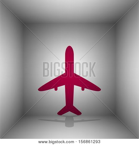 Airplane Sign Illustration. Bordo Icon With Shadow In The Room.