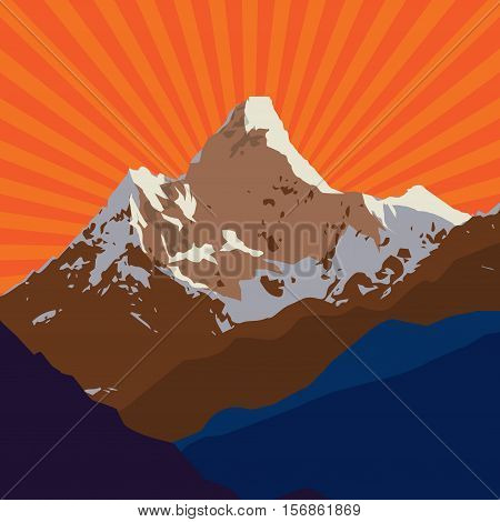 Mountains badge or emblem. Adventure outdoor expedition mountain peak mountain label vector illustration