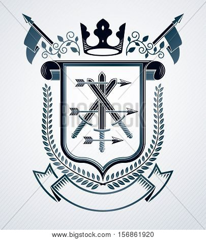Vector heraldic design vintage emblem created with swords and imperial crown