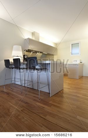 modern apartment interior view, open kitchen