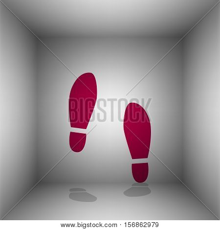 Imprint Soles Shoes Sign. Bordo Icon With Shadow In The Room.