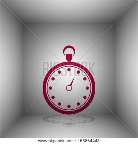 Stopwatch Sign Illustration. Bordo Icon With Shadow In The Room.