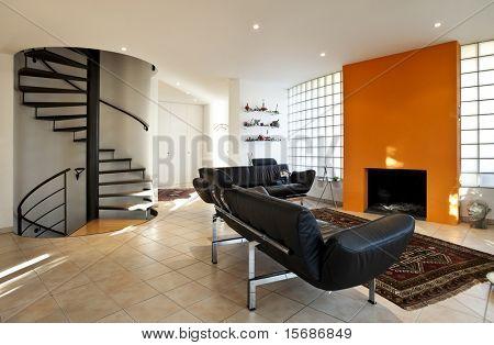 Casa moderna, sala de estar con muebles modernos