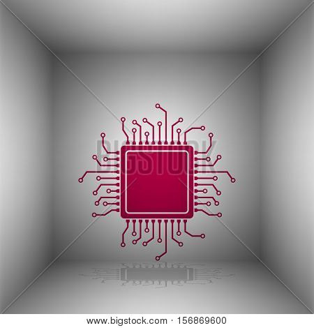 Cpu Microprocessor Illustration. Bordo Icon With Shadow In The Room.