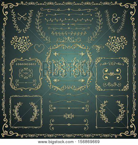 Golden Hand Drawn Sketched Decorative Vintage Design Elements. Royal Glossy Luxury Frames, Text Frames, Dividers, Floral Branches, Borders, Brackets. Vector Illustration