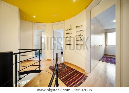 Modern house floor lights, two entry doors