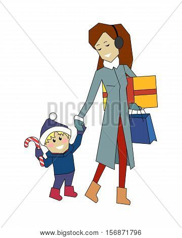 Winter holidays concept vector. Flat style. Woman in winter clothes with gifts in hand walking with her son in santa hat with candy cane. Christmas and New Year celebrating. Buying presents for family