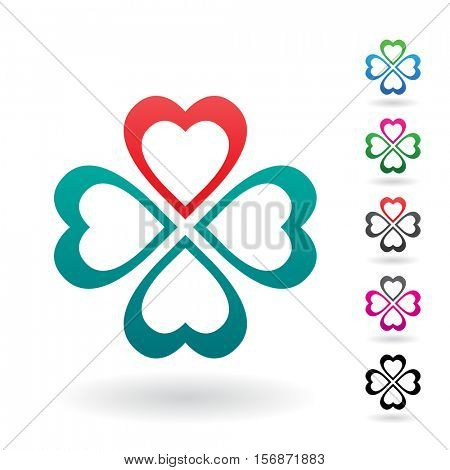 Vector Illustration of Abstract Heart Shaped Four Leaf Clover isolated on a white background