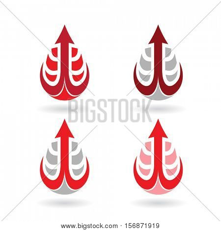 Vector Illustration of Colorful Water Drops and Earring Shapes isolated on a white background