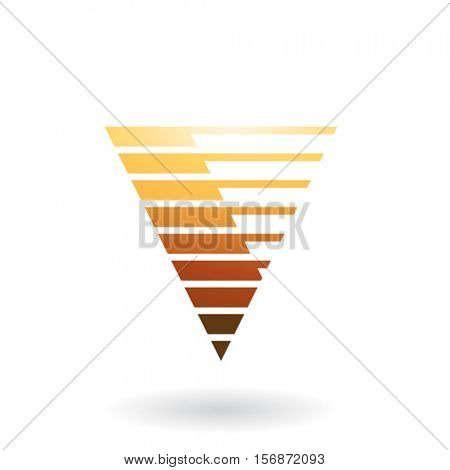 Design Concept of an Abstract Striped Icon of Letter V, Vector Illustration