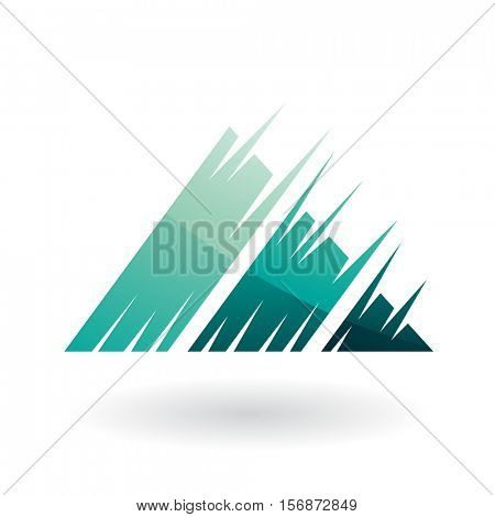 Vector Illustration of a Striped Triangle Abstract Icon isolated on a white background