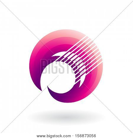 Vector Illustration of a Crescent Shaped Striped Abstract Icon isolated on a white background