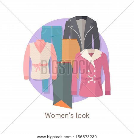 Women s look vector concept. Flat design. Set of casual women s clothing warm season. Pants, jacket, blouse, skirt, cloak illustrations. For stores ad, fashion concepts. Isolated on white background