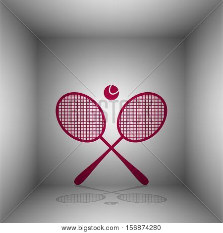 Tennis Racket Sign. Bordo Icon With Shadow In The Room.