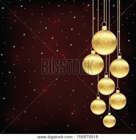 light Christmas background with gold and white evening balls