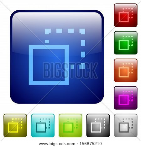Send to back color glass rounded square button set