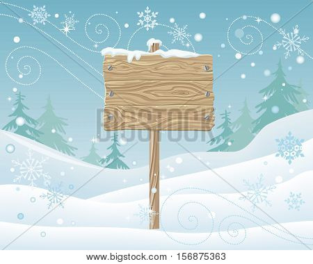 Wooden sign with spare place for your text. Postcard, greeting card design. Merry Christmas, Happy New Year. Xmas celebration winter season greeting message. Board and snowflakes on landscape. Vector