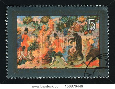 USSR - CIRCA 1982: A post stamp printed in the USSR shows paint by Kotyagin Parable of the two peasants circa 1982