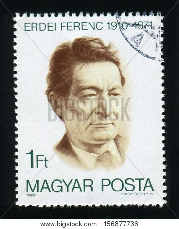 HUNGARY - CIRCA 1980: A post stamp printed in Hungary shows Ferenc Erdei 1910-1971 economist circa 1980.