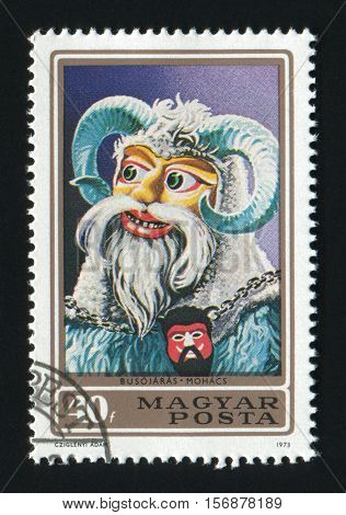 HUNGARY- CIRCA 1973: A post stamp printed in Hungary shows a Busojaras from town Mohacs circa 1973