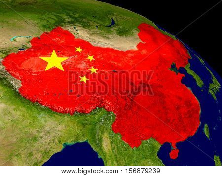 China With Flag On Earth