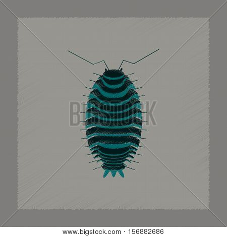 flat shading style illustration of wood louse