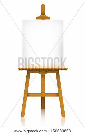 Easel with a blank canvas isolated on white background.