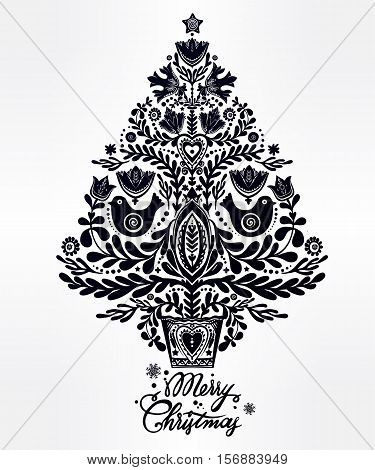 Christmas tree with beautiful highly detailed letterpress holiday Scandinavian folk style elements. Vector illustration. Happy New year. Traditional decorative card design for kids and adults.