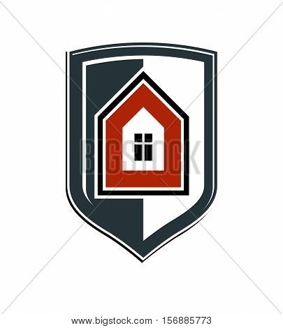 Safety Idea, Abstract Heraldic Symbol With Vector Classic House. Real Estate Brand Design Element, C