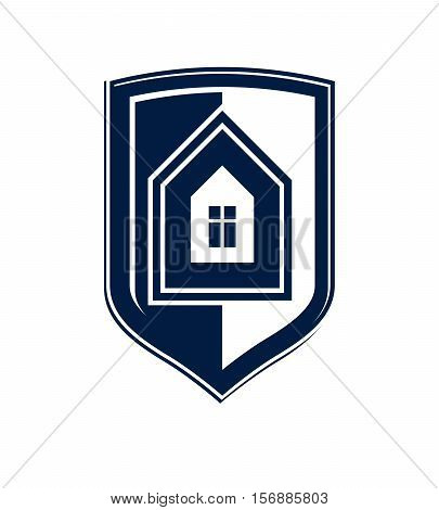 Property Protection Idea, Stylized Heraldic Symbol With Vector Classic House. Real Estate Agency Gra