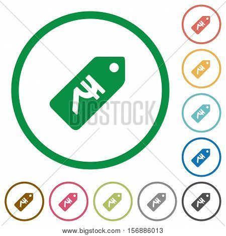 Indian Rupee price label flat color icons in round outlines