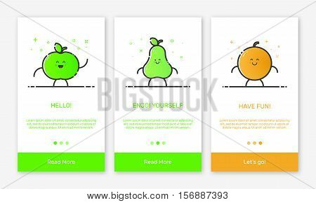 Vector Illustration of onboarding app screens and outline web fruit icons for mobile apps . Modern green and orange interface UX, UI GUI screen template for mobile smart phone or responsive web site.