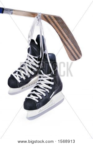 Hockey Skates And Stick Isolated