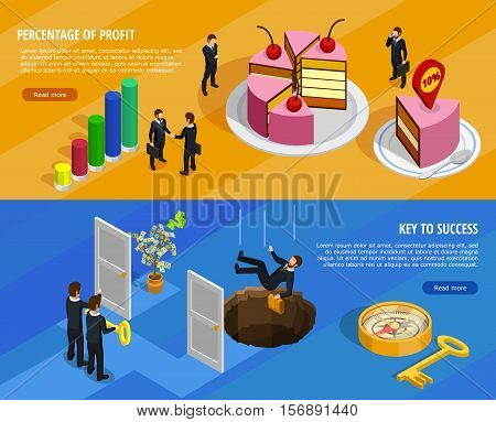 Business development isometric horizontal banners with goal setting and analysis of result and means of achieving vector illustration