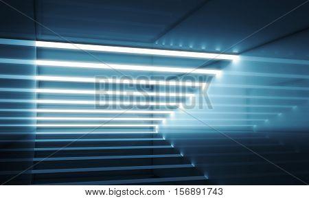 Dark Blue Interior With Stripes Of Lights 3D