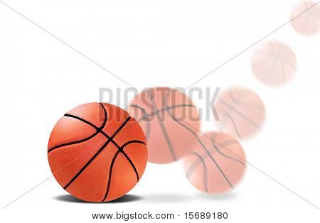 A blurred bouncing basketball
