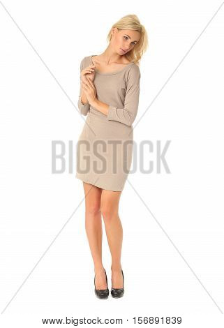 Full Length Of Flirtatious Woman In Tight Dress Isolated On White