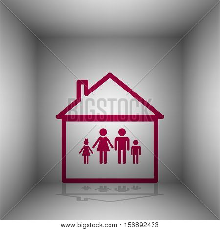 Family Sign Illustration. Bordo Icon With Shadow In The Room.