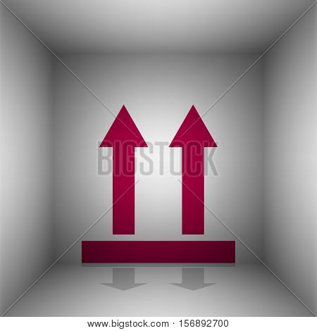 Logistic Sign Of Arrows. Bordo Icon With Shadow In The Room.